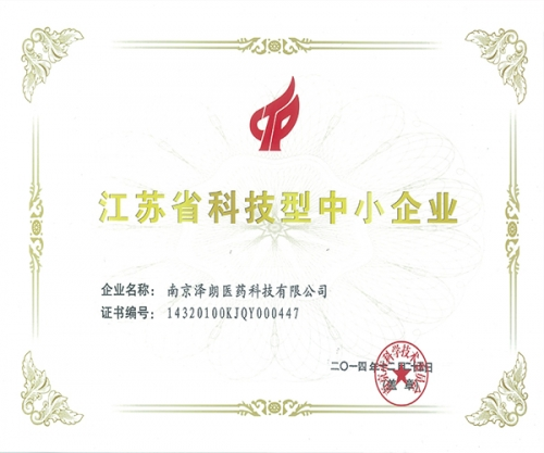 江苏省科技型中小企业证书
